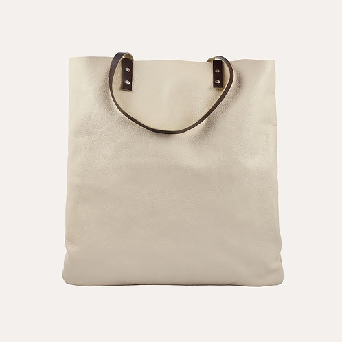 Beige Leather Tote