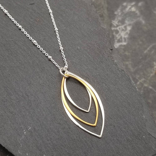 Two Tone Triple Marquise Necklace