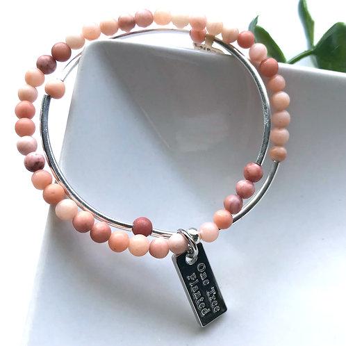 Double Wrap Peach Agate Gemstone Bracelet