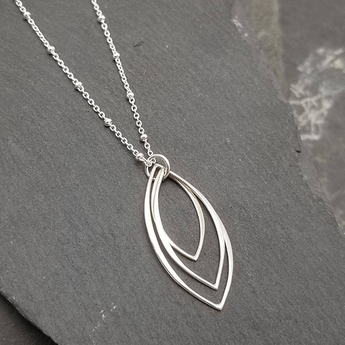 Triple Marquise Necklace in Silver