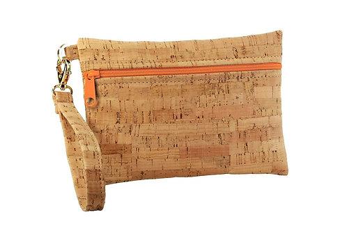 Small Cork Fabric Wristlet with Orange Zipper