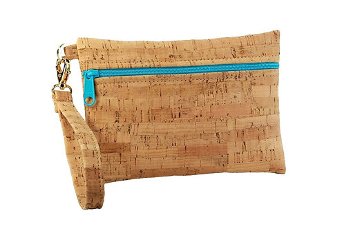 Small Cork Fabric Wristlet with Turquoise Zipper