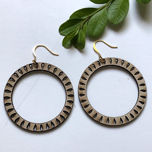 Tree Seed Hoop Wooden Earrings