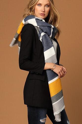 Multi-Stripe Blanket Scarf