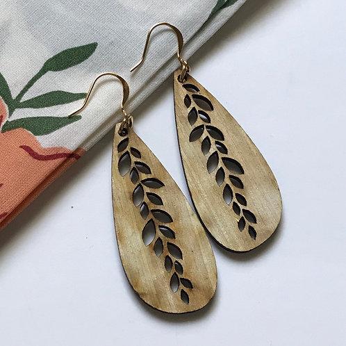 Leaf Tear Drop Wooden Earrings