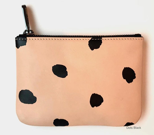 Small Leather Wallet - Black Dots
