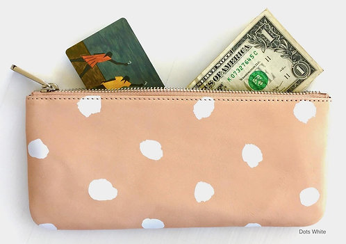 Large Leather Wallet - White Dots
