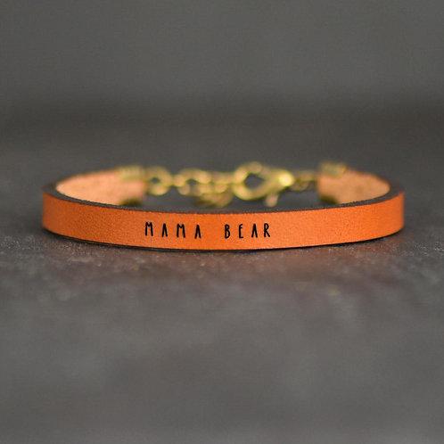 Mama Bear Engraved Leather Bracelet