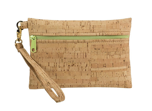 Small Cork Fabric Wristlet with Lime Green Zipper