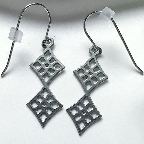 Double Diamond Steel Earrings