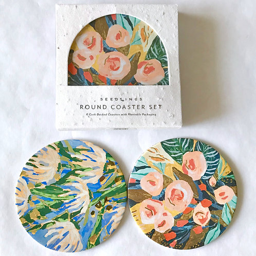 Blue and Coral Floral Coaster Set