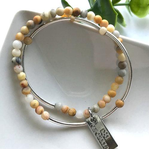 Double Wrap Crazy Lace Agate Gemstone Bracelet