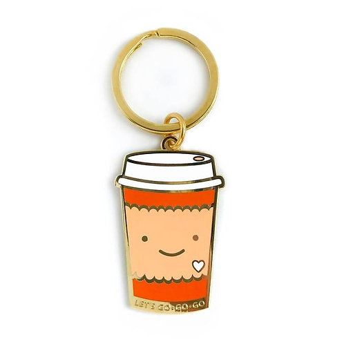 Coffee to Go Enamel Keychain