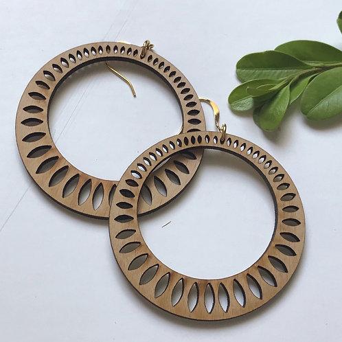 Leaf Hoop Wooden Earrings