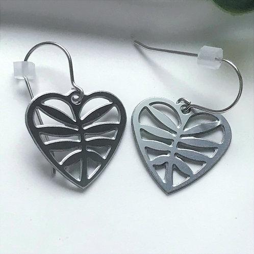 Leafy Heart Steel Earrings