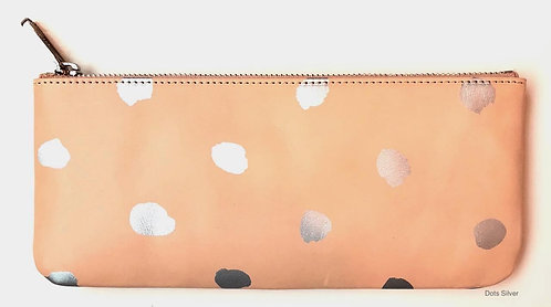 Large Leather Wallet - Silver Dots