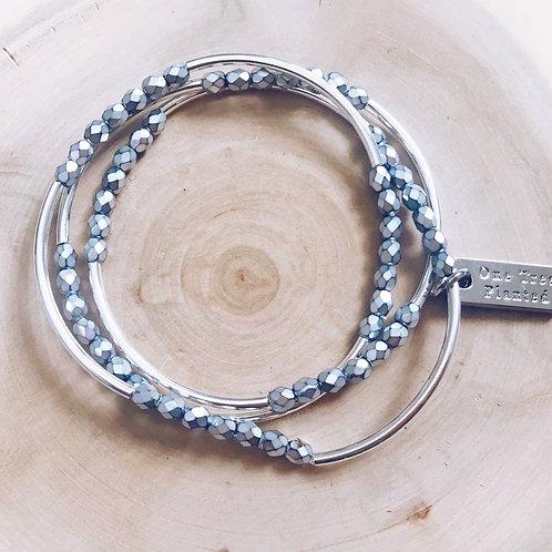 Triple Wrap Bracelet in Silver w/Black