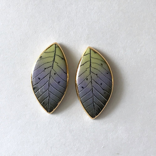 Lime Leaf Button Earring