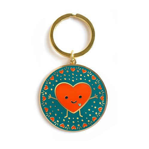 Happy Heart Enamel Keychain