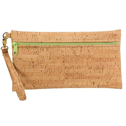 Large Cork Wristlet with Lime Green Zipper