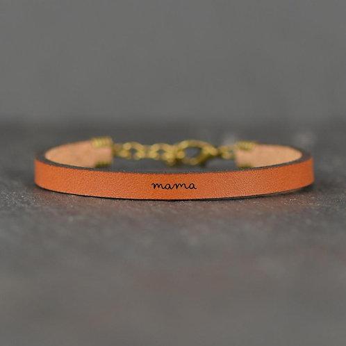 Engraved Leather Bracelet Mama
