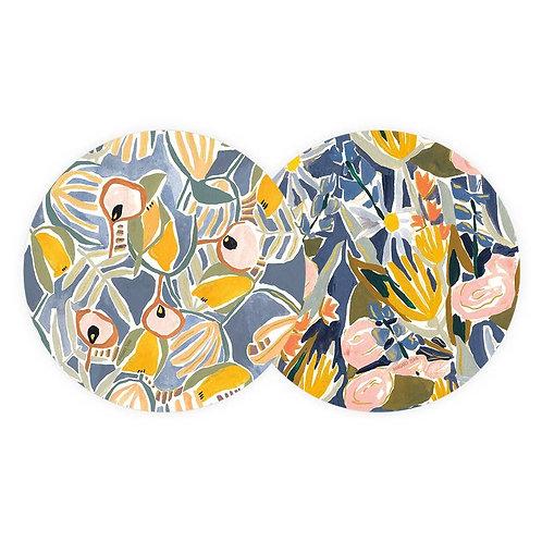 Blue + Yellow Floral Coaster Set