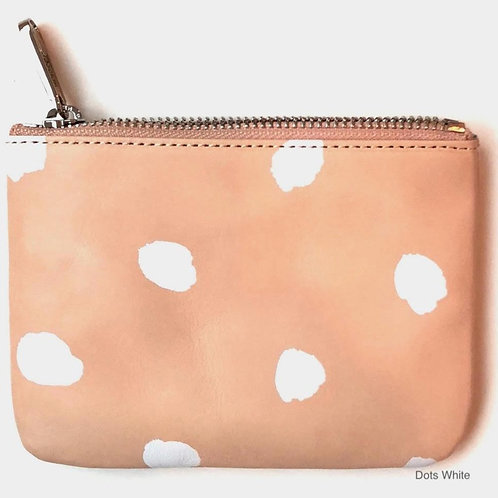 Small Leather Wallet - White Dots