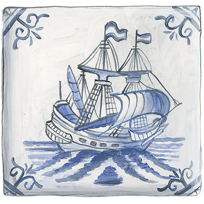 """Delft""© Galleon Coaster (set of 2)"
