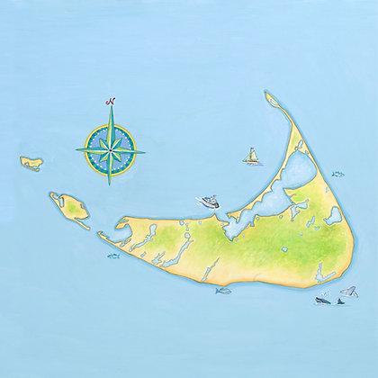 """Nantucket"" © Square Glass Cutting Board"