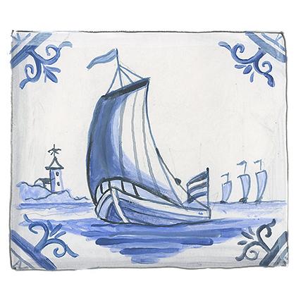 """""""Delft""""© Sailboat Coaster (set of 2)"""