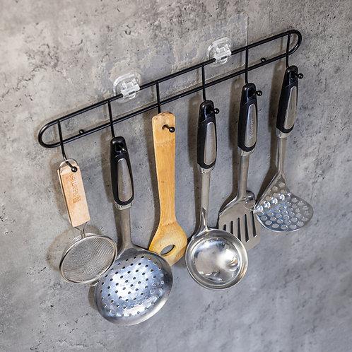 קולב 6 ווים ללא קידוח שחור למטבח