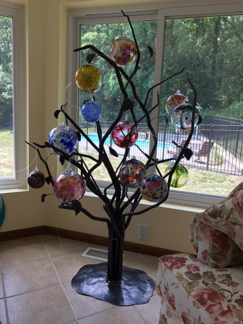 Forged Tree With Glass Orbs.JPG