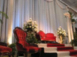 Red Velvet Love Seat Royal Throne Chairs for Wedding Event Rental Nashville