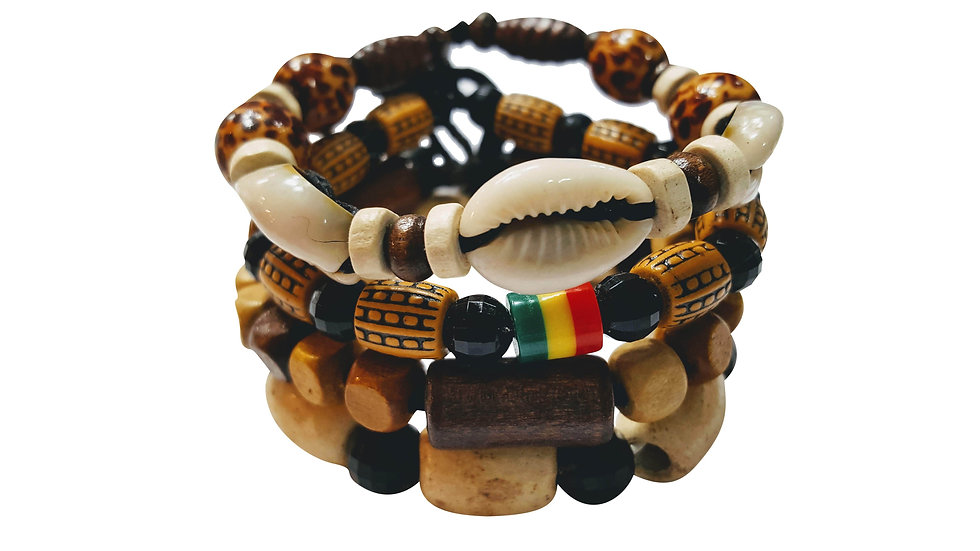 4 Pcs Bracelets for Men Women Wooden Beaded Bracelets Multi Layer Stackable