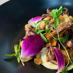 Calamari w Royal Trumpet Mushrooms & Black Truffle Allioli