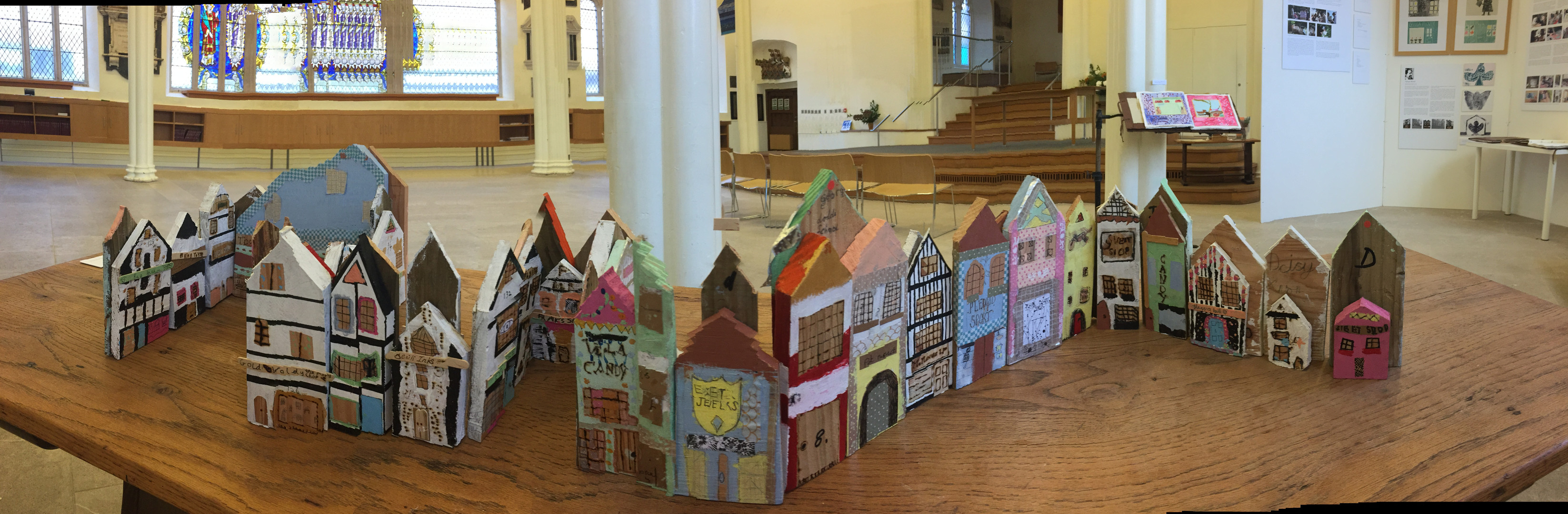 Buildings created with Cara Roxanne at the 'Re-Boot' Exhibition at St Stephens Church