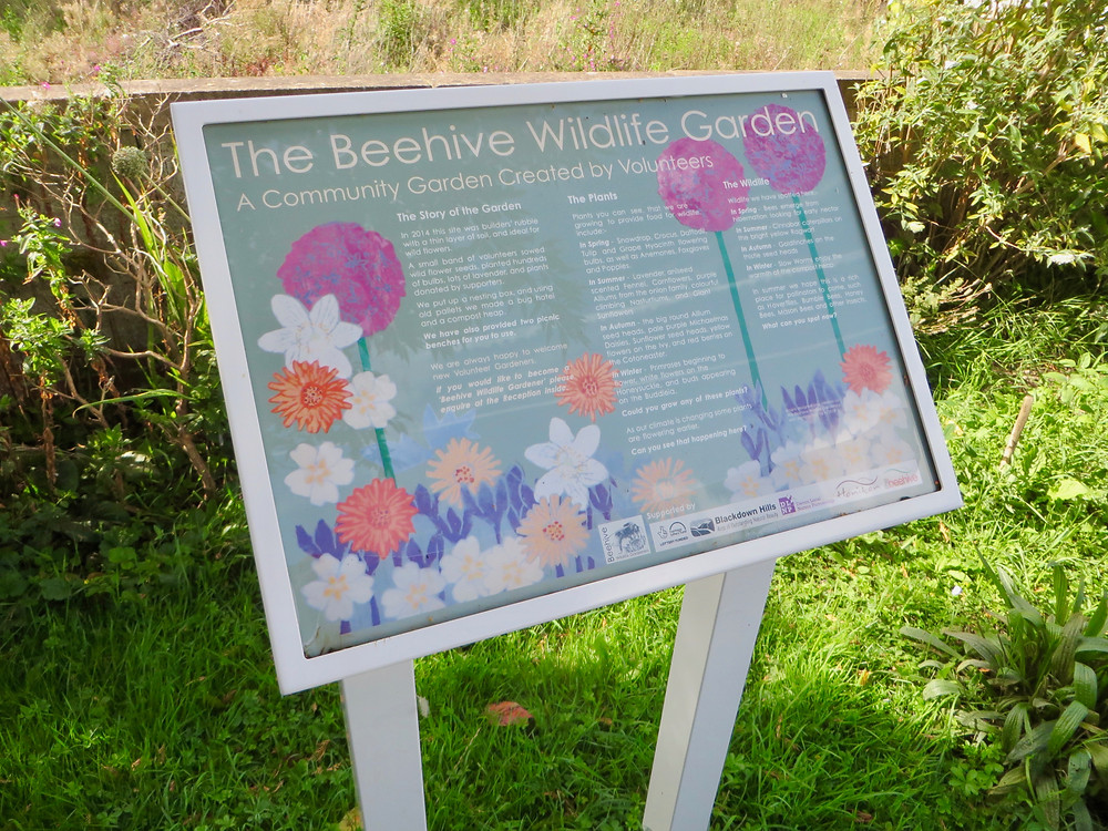 Beehive Wildlife Garden, Honiton, Devon. Interpretation panel installed.