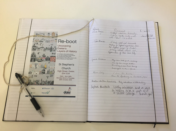 The comments book at the St Stephens 'Re-Boot' Exibition