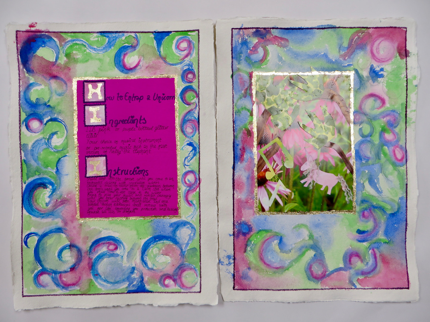 How to Entrap a Unicorn - double page spread