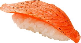 寿司:サーモンの炙り:サーモンを炙って旨味を引き立てます.png