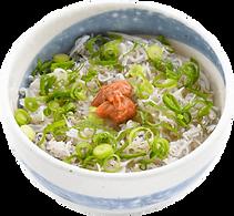 飯・〆:釜揚げしらすと梅のご飯:吉田漁港で水揚げされた釜揚げしらすの丼