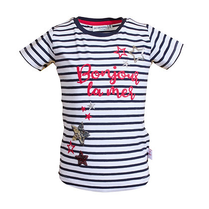 T-Shirt Meer mit Stick & Pailletten Navy