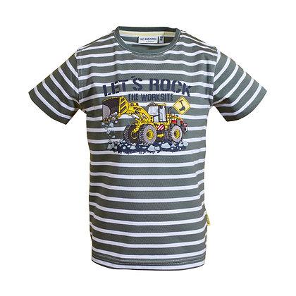 """T-Shirt  """"Baumaschine Radlader""""Khaki/Weiß"""