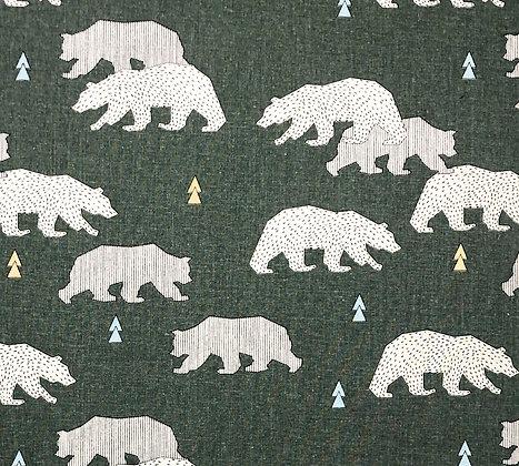 Baumwolle Forest Bären Grün
