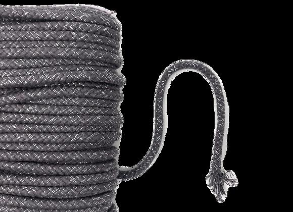 Kordel 10 mm Lurex Grau / Silber