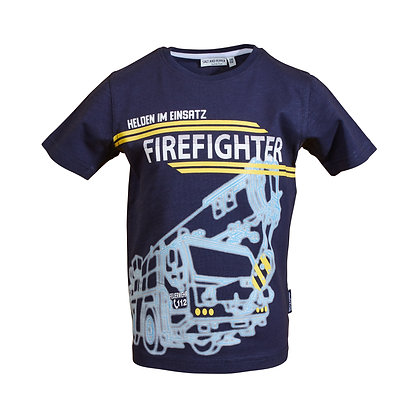 Jungen T-Shirt  Motiv Feuerwehr Navy