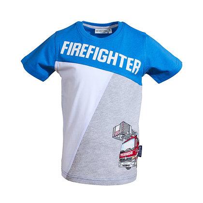 T-Shirt Firefighter cobalt blue