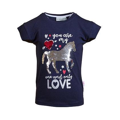 T-Shirt Navy Pferd Wendepailletten