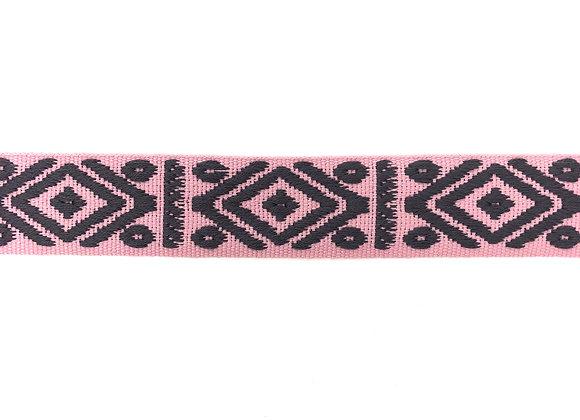 Gurtband Baumwolle Muster 4 cm Rosa