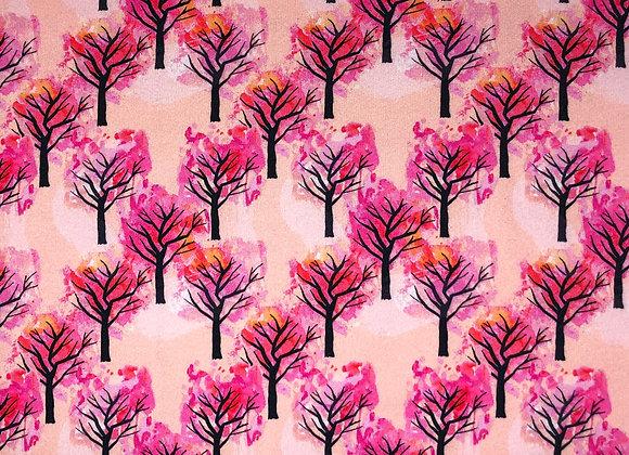 Sweatstoff Kirschbäume Pink